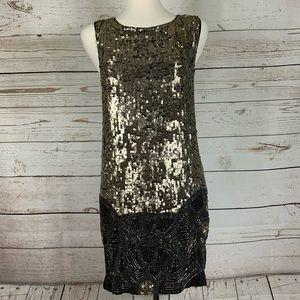 Allsaints Spitafields metal sequin Art Deco dress